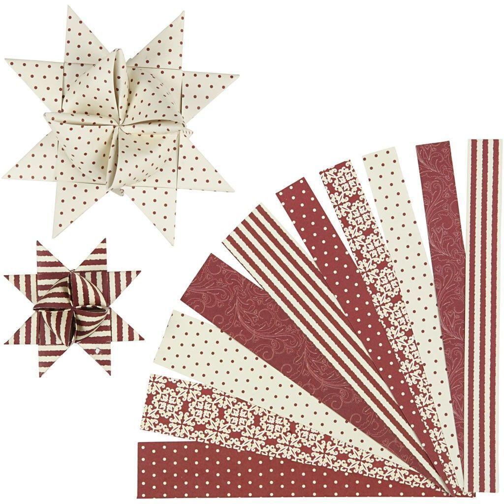 60 Papierstreifen für Fröbelsterne, Weiß / Rot  zum Falten von Sternen