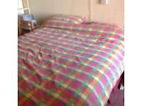 Double bed and flame resistant matress