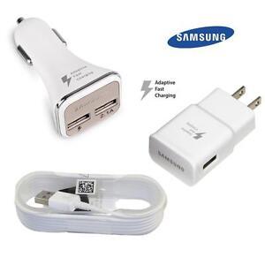 3 pièces BUNDLE DEAL: Samsung Home adaptatif chargeur rapide + chargeur de voiture double port + Micro-USB Sync câble