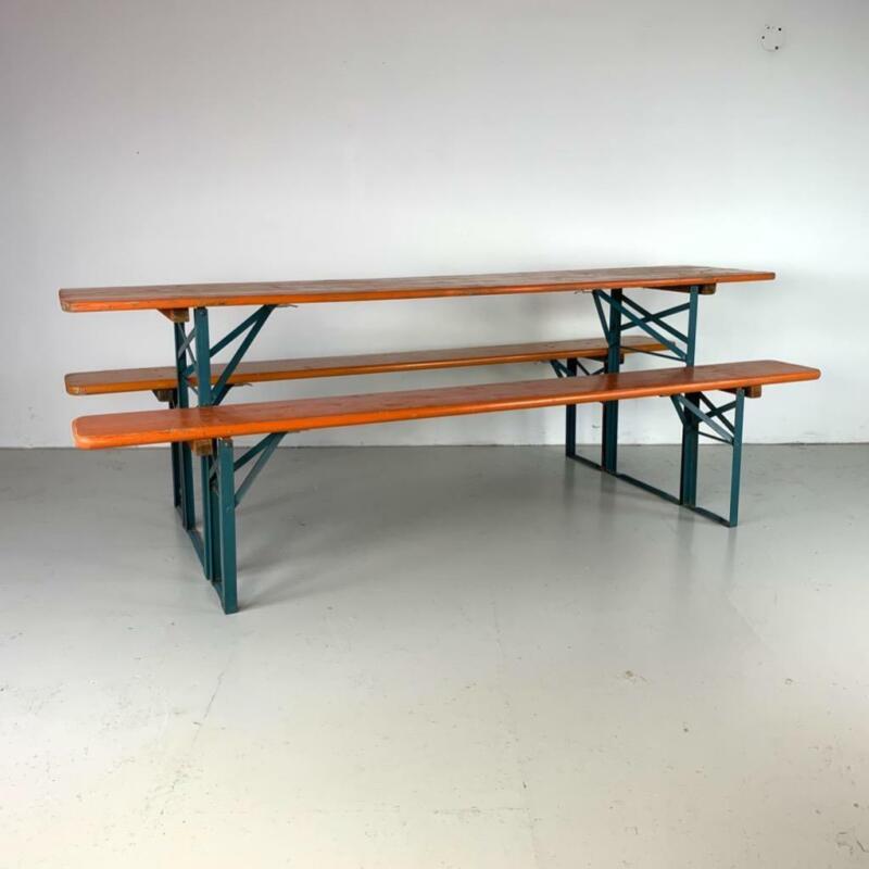 VINTAGE INDUSTRIAL GERMAN BEER TABLE BENCH SET GARDEN FURNITURE ORANGE BLUE LEGS