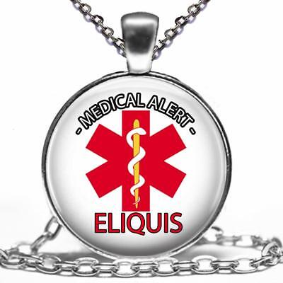 Medical Alert Taking Eliquis Necklace Glass Top Pendant Medications Alert