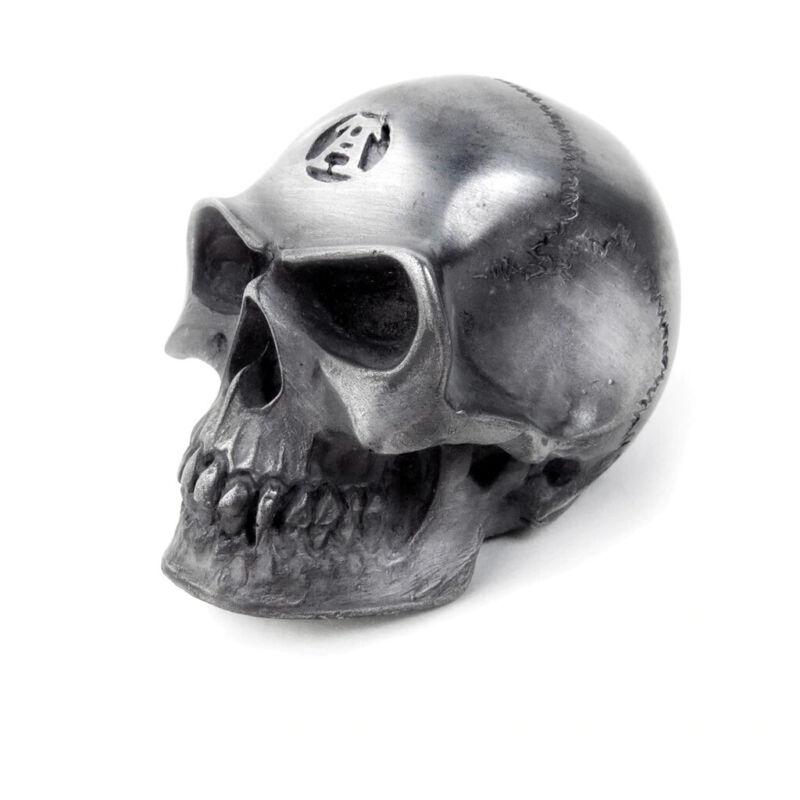 Alchemy Gothic Metallic Silver Skull Paper Weight Gear Knob Halloween Home Decor