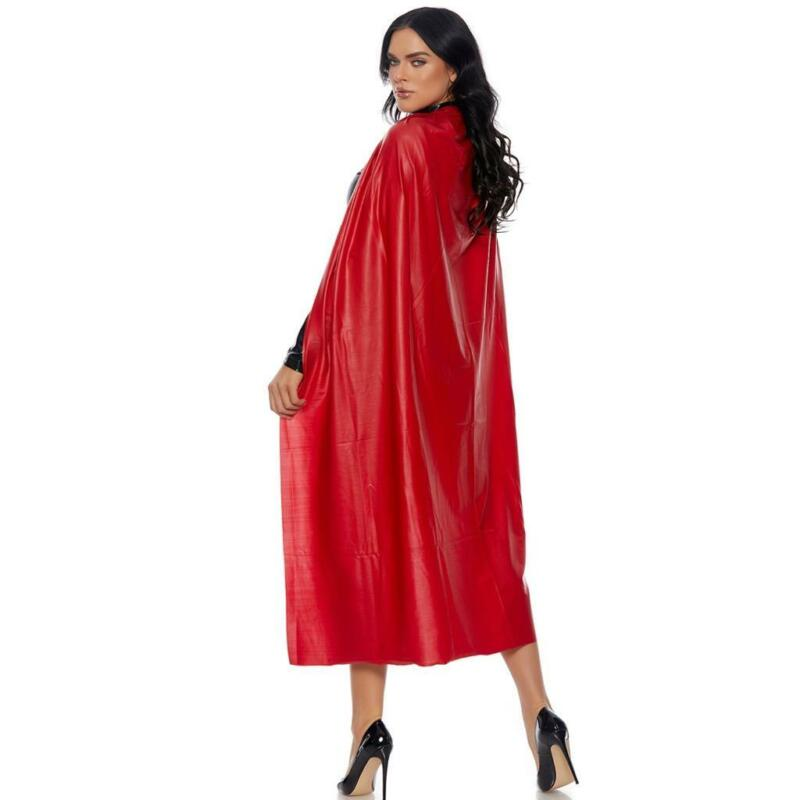 Long Vinyl Cape Full Length Super Hero Villain Costume Red Shiny 996450