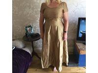 Vintage monsoon silk dress, bridesmaid, prom, mother of bride, gold silk 16