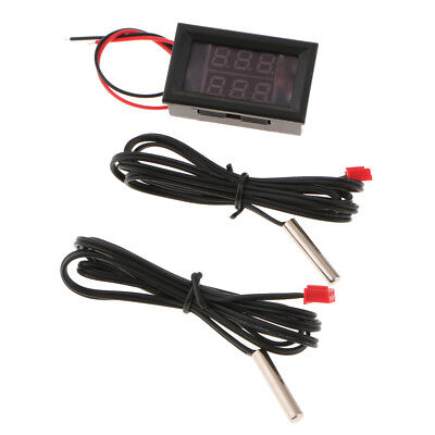 Dc 4-28v -55120 Double Display Digital Thermometer With Ntc Metal Probe