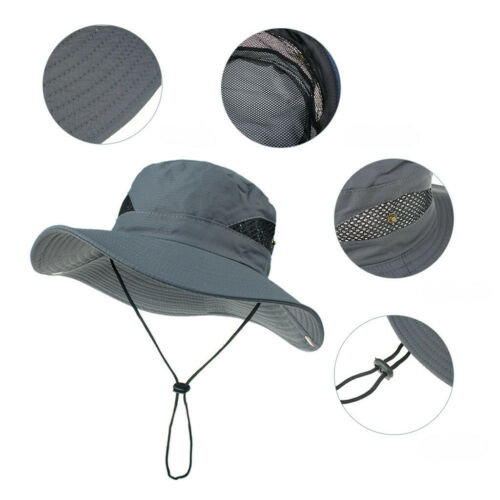 Adult's Wide Brim Fisherman Sun Hat Outdoor Sunscreen Bucket Mesh Boonie Hat Clothing, Shoes & Accessories