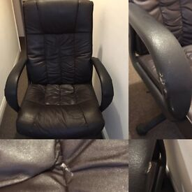 Faux leather brown office chair
