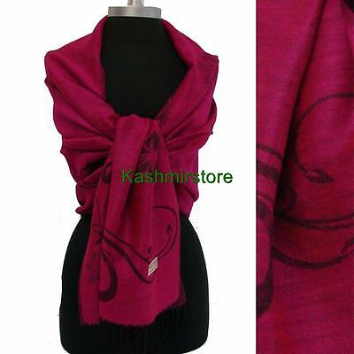 New Pashmina Paisley Floral Silk Wool Scarf Wrap Shawl Soft Classic Hot Pink
