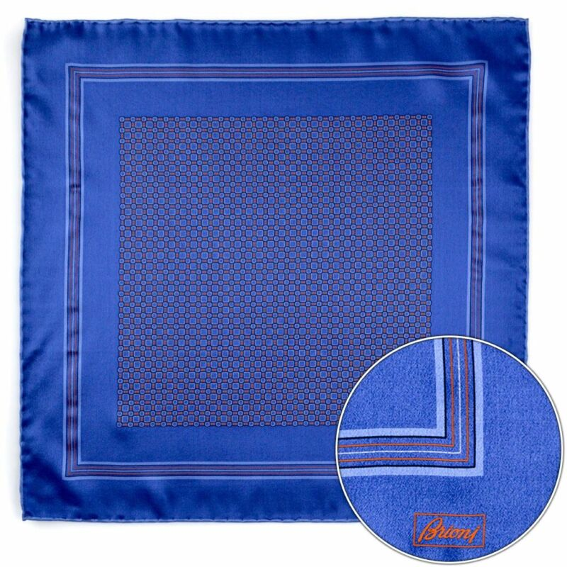 $150 New BRIONI Blue Orange Squares Silk Hand Rolled Pocket Square Handkerchief
