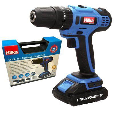 Hilka 18V Cordless Combi Drill Li-Ion Battery -  Drill Driver & Hammer Function