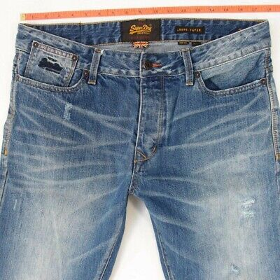 Mens SuperDry LOOSE TAPERED Relaxed Blue Jeans W34 L36