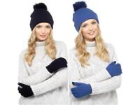 Hat & Touch Screen Gloves Set (Colours: Blue & Black)