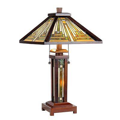 Chloe Tiffany Style Mission Design Double Lit 2+1 light Bronze Table Lamp