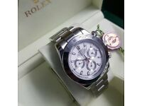 All silver boxed Rolex Daytona With white face and working cronos complete with Rolex box and bag