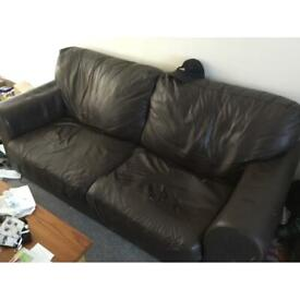 Two and three seater brown leather sofas for sale