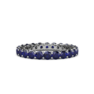 Blue Sapphire Shared Prong Eternity Ring Stackable 2.52 ctw* 14K Gold -