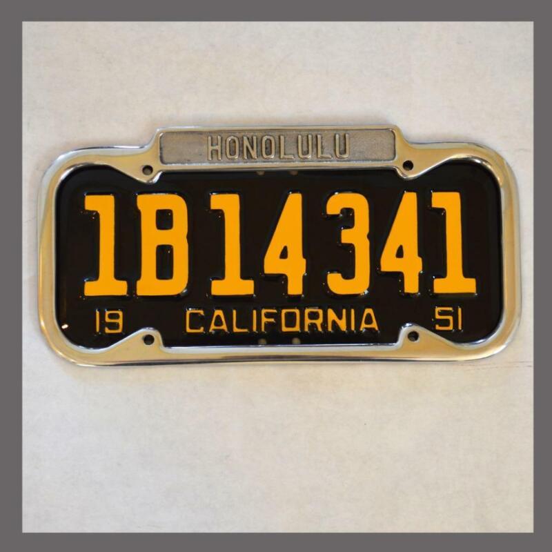 Honolulu Hawaii Polished License Plate Frame NEW Fits 1940-1955 Plates