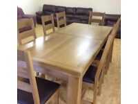 SOLID OAK GRAND CHATEAU EXTENDING TABLE AND 8 CHAIRS