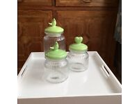 KITCHEN GLASS STORAGE JARS CANISTERS X 3