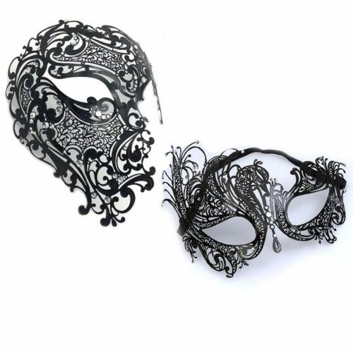Black Phantom Laser Cut Venetian Half Mask Masquerade Metal Filigree Halloween