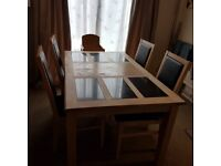 Light Oak Extending Dining Table with chairs