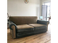 GREEN LEATHER AND TWEED 3 SEATER EXTRA LARGE SEAT SOFA