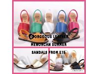 Leather Spanish sandals/ beach shoes for spring summer various colours