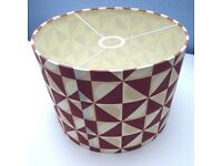 Pristine, as new. Mid century style lampshade. Ceiling pendant. Geometric, modern.
