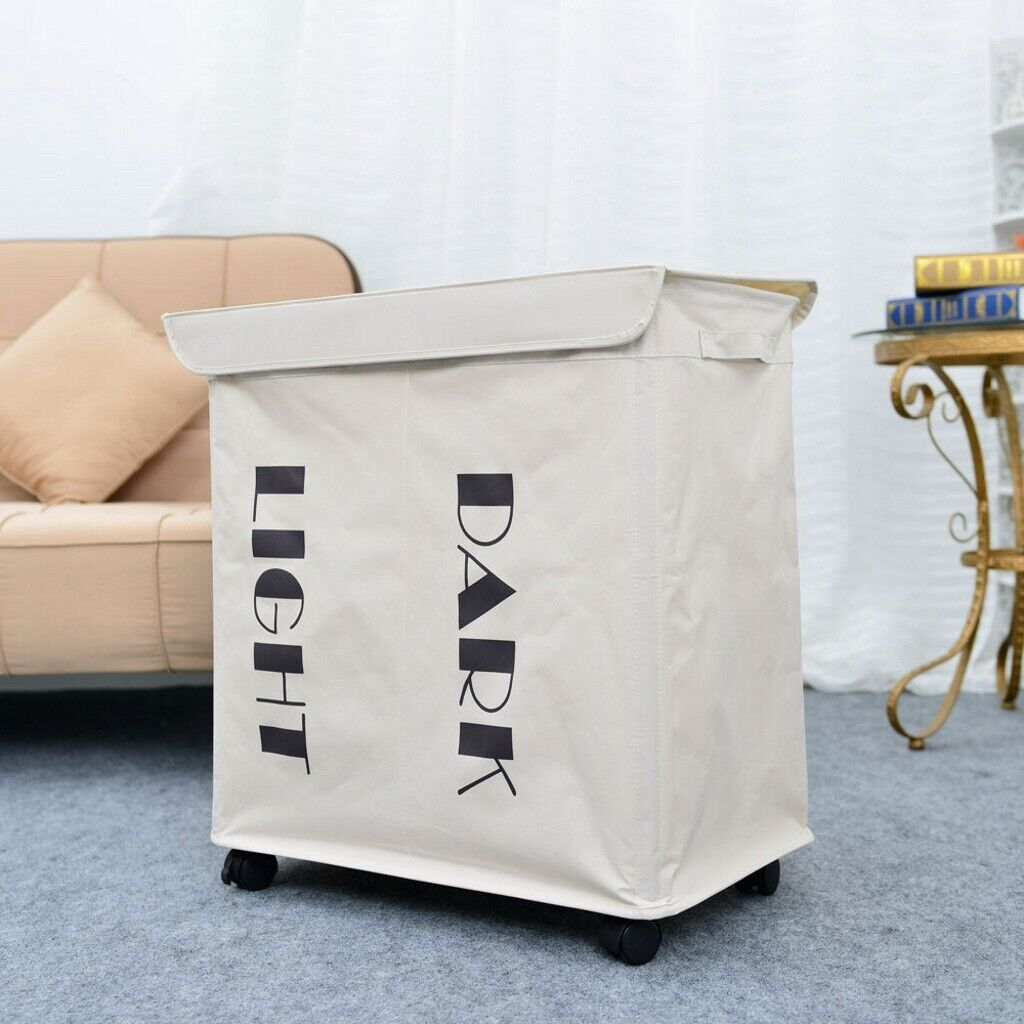 White Folding Laundry Sorter Hamper Basket Clothes Storage B