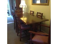 Mahogany coloured Dining Room Table & Six Chairs