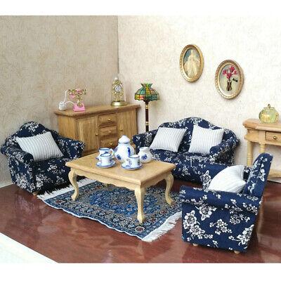 1/12 Dolls House Furniture Living Room Sofa Armchairs Cushions Pillows Blue