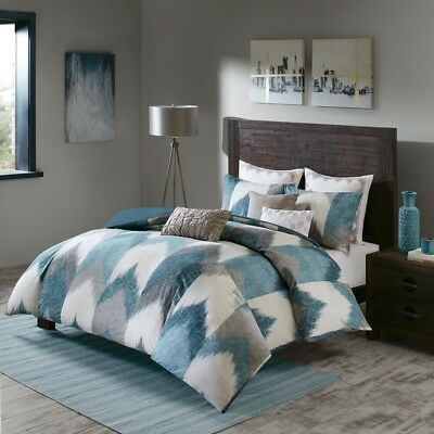 New Full/Queen Alpine 3 Piece Comforter Mini Set Pine, Cotton Blue Green INK+IVY