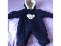 Pram Suit with booties and detachable mittens. 0 - 3 months