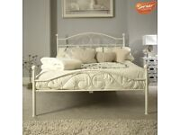 4FT6 DOUBLE WHITE METAL BED FRAME – MUST GO BY SUNDAY 23 SEPT