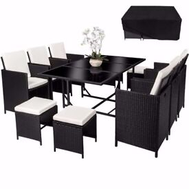 **FREE UK DELIVERY** German Poly Rattan 11pc Garden Conservatory Furniture Set