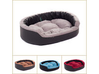 New Luxury half PU Leather Suede Puppy Dog Cat sofa bed waterproof cozy pillow