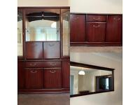 Glass Cabinet, Cupboard and Mirror (matching) Sold as set or individually