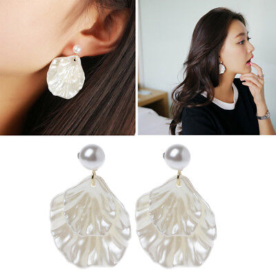 - Mother of Pearl Double Carve Shell Leaf Dangle Hook Earrings Silver Tone Jewelry