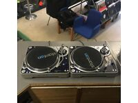 2 X STANTON T120C PROFESSIONAL DJ TURNTABLES WITH ORTOFON OMPRO DJS CARTS & DUSTCOVERS