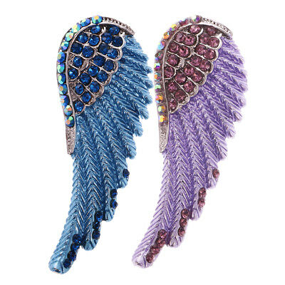 Shiny Crystal Rhinestone Feather Leaf Angel Wing Pendant DIY Ornament 2Pcs ()