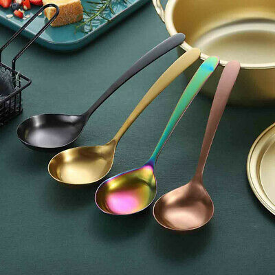 Rainbow Stainless Steel Soup Spoon Mixing Drinking Tools Metal Big Dessert ()