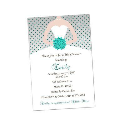 30 Personalized Invitation Cards for Bridal Shower Teal and Grey Dots Dress A1
