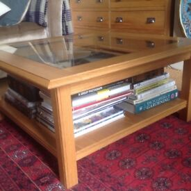 M&S Oak and glass two tiered coffee table. 85cm square 40cm high