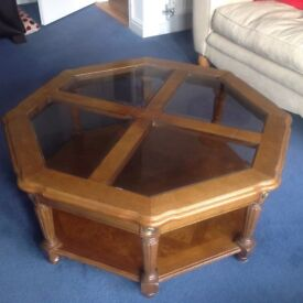 Solid wood glass topped coffee table