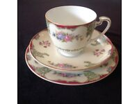 Fine bone china trio. Cups, saucer and plate.
