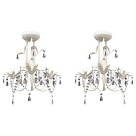 Crystal Pendant Ceiling Lamp Chandeliers 2 pcs Elegant White-278738