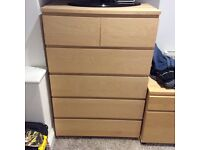 Ikea beech malm bedroom set - king size bed ,chest of drawers, 2 bedsides