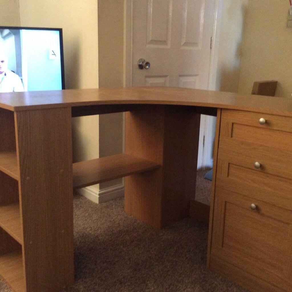 Large corner oak computer desk