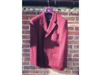 Balmain Burgundy Wool Blazer Vintage - Large