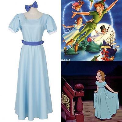 Halloween Film Peter pan Wendy Rachael Cosplay costume Women's Blue Long Dress](Blue Peter Halloween Costume)